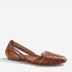 J Crew NWOB Huarache Woven Tan Leather Sandals 6M